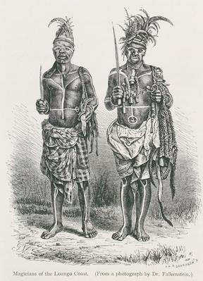 Magicians of the Loango Coast, engraved from a photograph by Dr. Falkenstein, from 'The History of Mankind', Vol.1, by Prof. Friedrich Rayzel, 1896