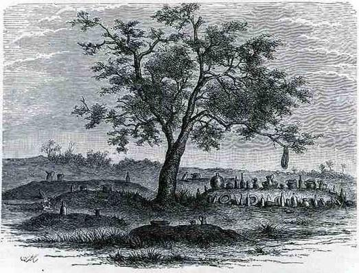 Cemetery and sacred tree in Mbinda, from 'The History of Mankind', Vol.1, by Prof, Friedrich Ratzel, 1896