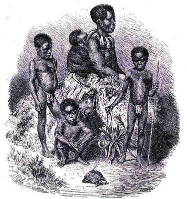 A Zulu family, from 'The History of Mankind', Vol.1, by Prof. Friedrich Ratzel, 1896