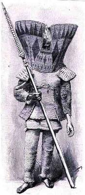 Kingsmill Islander in full armour, from 'The History of Mankind', Vol.1, by Prof, Friedrich Ratzel, 1896