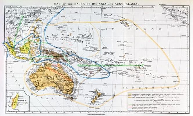 Map of the races of Oceania and Australasia, from 'The History of Mankind', Vol.1, by Prof. Friedrich Ratzel, 1896