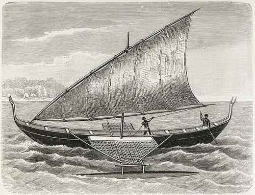 Boat of the Mortlock Islands, with outrigger and sail of rush-matting, from 'The History of Mankind', Vol.1, by Prof. Friedrich Ratzel, 1896