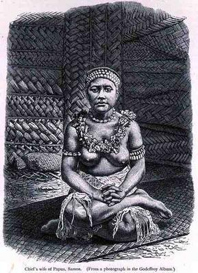 Chief's wife of Papua, Samoa, from 'The History of Mankind', Vol.1, by Prof. Friedrich Ratzel, 1896