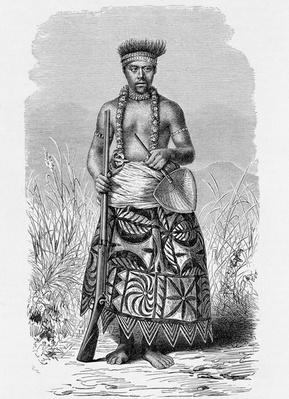 Samoan warrior in tapa clothing, from 'The History of Mankind', Vol.1, by Prof. Friedrich Ratzel, 1896