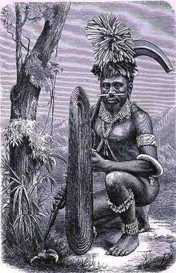 Warrior of the Solomon Islands, from 'The History of Mankind', Vol.1, by Prof. Friedrich Ratzel, 1896