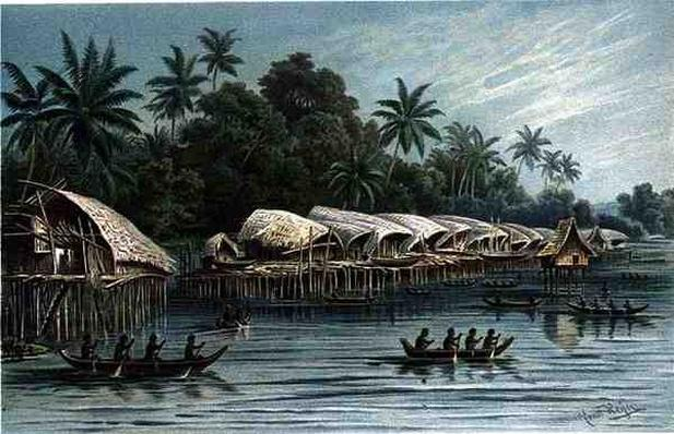 Sowek, a Pile village on the North coast of New Guinea, from 'The History of Mankind', Vol.1, by Prof. Friedrich Ratzel, 1896