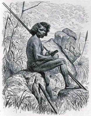North Australian with spears, axe and clubs, from 'The History of Mankind', Vol.1, by Friedrich Ratzel, 1896
