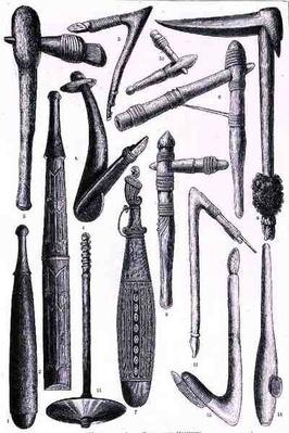 Melanesian axes, clubs and hammers, from 'The History of Mankind', Vol.1, by Prof. Friedrich Ratzel, 1896