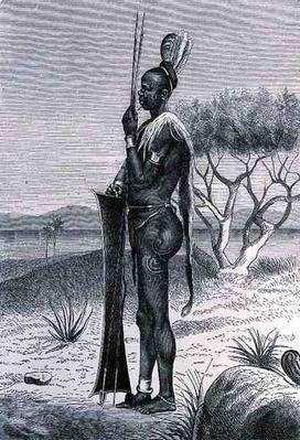 A tattooed Shuli negro with his weapons, from 'The History of Mankind', Vol.III, by Prof. Friedrich Ratzel, 1898