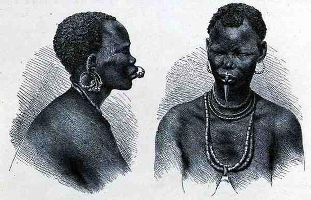 Moru woman with lip ornament, from 'The History of Mankind', Vol. III, by Prof. Friedrich Ratzel, 1898