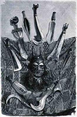 Knives, mask and mat from Upper Congo, from 'The History of Mankind', Vol.III, by Prof. Friedrich Ratzel, 1898