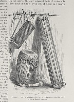 African drums, from 'The History of Mankind', Vol.III, by Prof. Friedrich Ratzel, 1898