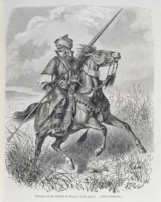 Trooper of the Sheikh of Bornu's bodyguard, from 'The History of Mankind', Vol.III, by Prof. Friedrich Ratzel, 1898