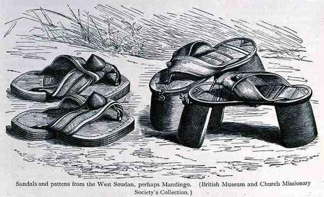 Sandals and pattens from the West Soudan, possibly Mandingo, from 'The History of Mankind', Vol.III, by Prof. Friedrich Ratzel, 1898