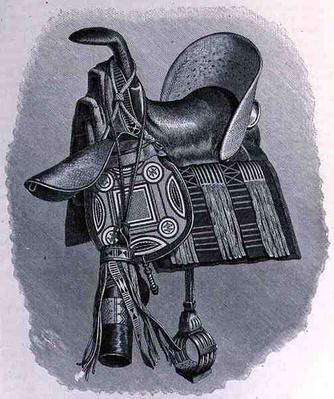 Saddle, saddle-bags and spear-case of a Baghirmi chief, from 'The History of Mankind', Vol.III, Prof. Friedrich Ratzel, 1898