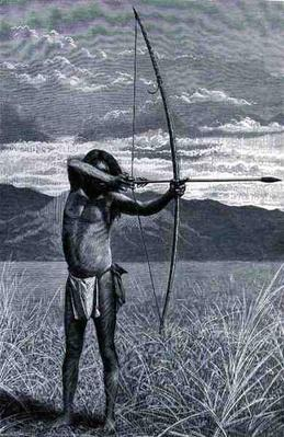 A Veddah of Ceylon shooting with the bow, from 'The History of Mankind', Vol.III, by Prof. Friedrich Ratzel, 1898