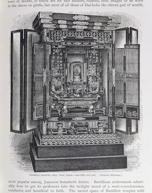 Buddhist domestic altar, from 'The History of Mankind', Vol.III, by Prof. Friedrich Ratzel, 1898