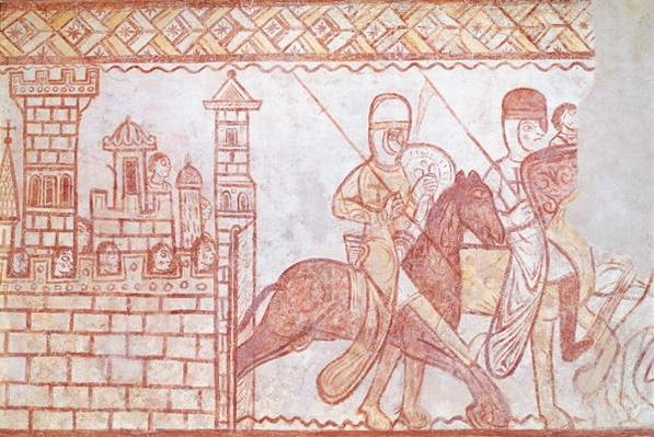 Departure of the Crusaders in 1163 from the Syrian castle of Krak des Chevaliers for the Battle of Bocqu�e