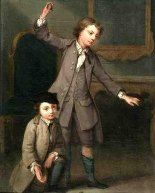 Two Boys of the Nollekens Family, Probably Joseph and John Joseph, Playing at Tops, 1745