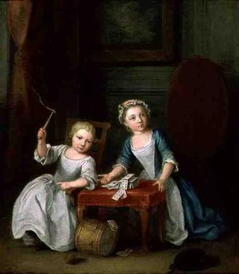 Two Children of the Nollekens Family, Probably Jacobus and Maria Sophia, Playing With a Top and Playing Cards, 1745