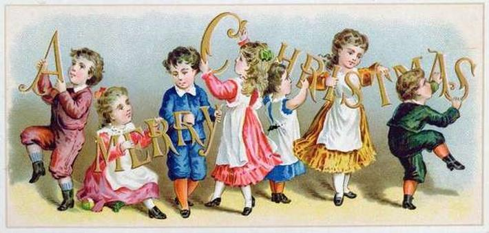 'A Merry Christmas', Victorian postcard