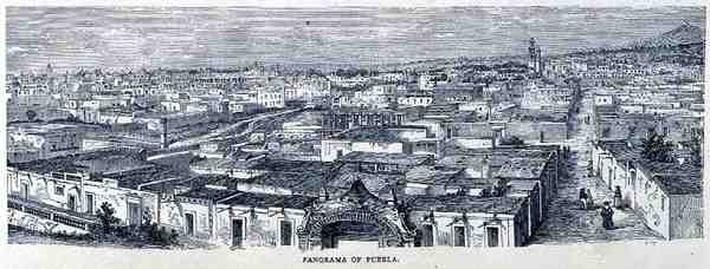 Panorama of Puebla, Central Mexico, from 'The Ancient Cities of the New World', by Claude-Joseph-Desire Charnay, pub. 1887
