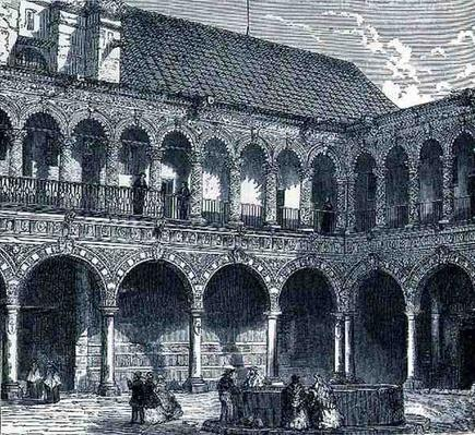 The Cloister of the Convent of La Merced, Mexico, from 'The Ancient Cities of the New World', by Claude-Joseph-Desire Charnay, pub. 1887