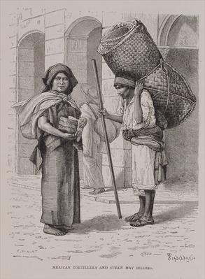 Mexican Tortillera and Straw Mat Seller, from 'The Ancient Cities of the New World', by Claude-Joseph-Desire Charnay, pub. 1887