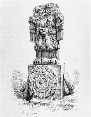 Statue of the Goddess Coatlicue, from 'The Ancient Cities of the New World', by Claude-Joseph-Desire Charnay, pub. in 1887