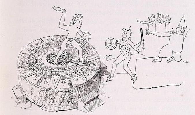 The Temalacati, or Gladiatorial Stone, from the Codex Ramirez, from 'The Ancient Cities of the New World', by Claude-Joseph-Desire Charney, pub. 1887