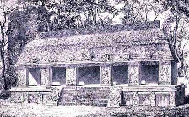 Restoration of the Inner Wing of the Palace at Palenque, from 'The Ancient Cities of the New World', by Claude-Joseph-Desire Charnay, pub. 1887