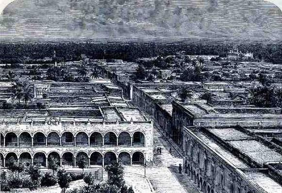 Panoramic View of Merida, from 'The Ancient Cities of the New World', by Claude-Joseph-Desire Charnay, pub. 1887