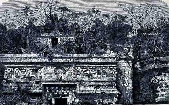 Temple Building to the East of the the Nunnery at Chichen Itza, from 'The Ancient Cities of the New World', by Claude-Joseph-Desire Charnay, pub. 1887
