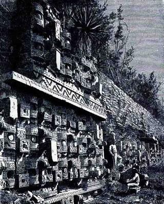 Ruins of First Palace of Kabah, from 'The Ancient Cities of the New World', by Claude-Joseph-Desire Charnay, pub. 1887