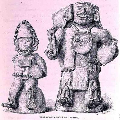 Terracotta Idols of Tabasco, from 'The Ancient Cities of New Mexico', by Claude-Joseph-Desire Charnay, pub. 1887