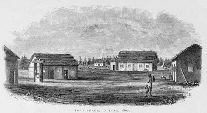 Fort Yukon, June 1867, from 'Alaska and its Resources', by William H. Dall, engraved by John Andrew, pub. 1870