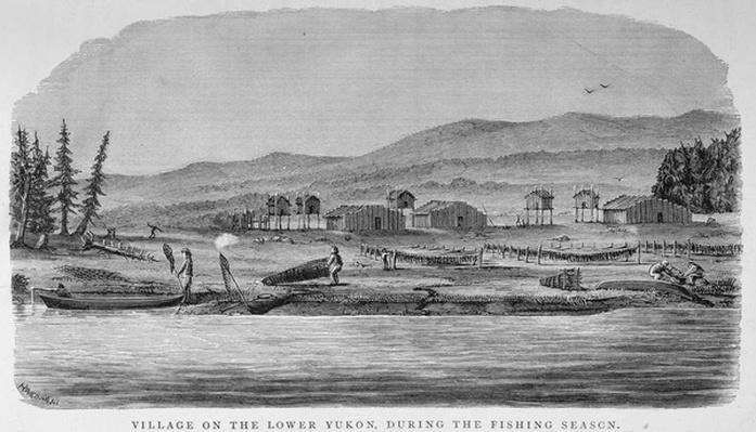 Village on the Lower Yukon, from 'Alaska and its Resources', by William H. Dall, engraved by John Andrew, pub. 1870