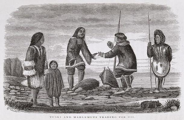 Tuski and Mahlemuts Trading for Oil, from 'Alaska and its Resources', by William H. Dall, engraved by John Andrew, pub. 1870