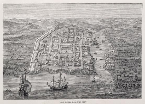 Old Santo Domingo City at the time of Drake's expedition, from 'Santo Domingo Past and Present' by Samuel Hazard, pub. 1873