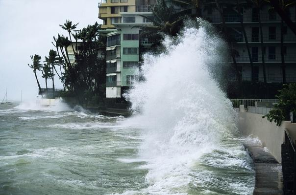 Hurricane Iniki storm waves crash over bank near hotels, 1992 | Natural Disasters: Hurricanes, Tsunamis, Earthquakes