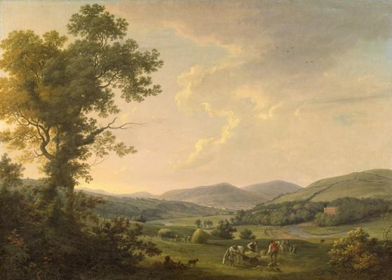 Landscape with Haymakers and a Distant View of a Georgian House, c.1780
