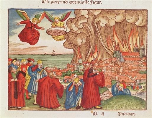 Revelation 18: Babylon burning, 1st edition, from the Luther Bible, c.1530