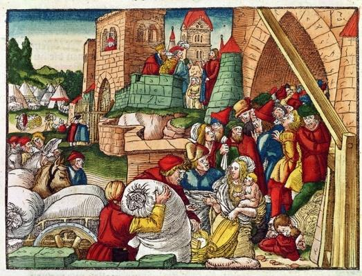 Samaria under siege, from the Luther Bible, c.1530