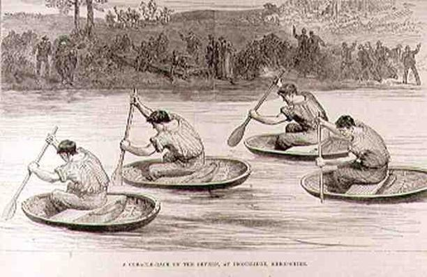 A Coracle Race on the Severn at Ironbridge, Shropshire, from 'The Illustrated London News', 9th October 1881