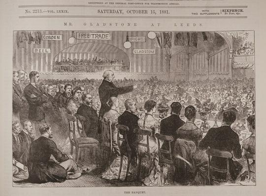 Mr. Gladstone at Leeds: The Banquet, from 'The Illustrated London News', 15th October 1881