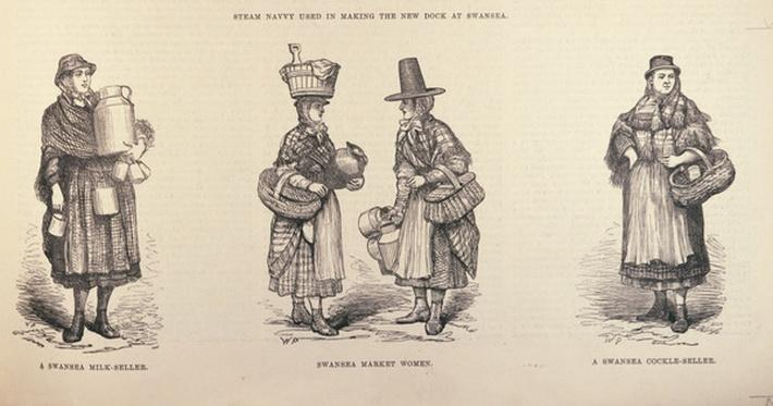 Swansea Milk-Seller, Swansea Market Woman and Swansea Cockle-Seller, from 'The Illustrated London News', 22nd October 1881