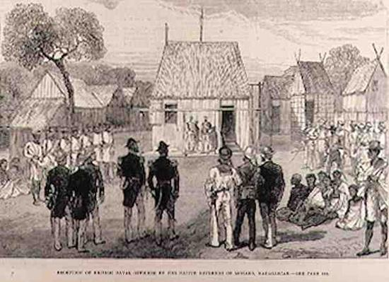 Reception of British Naval Officers by the Native Governor of Mohabo, Madagascar, from 'The Illustrated London News', 26th November 1881