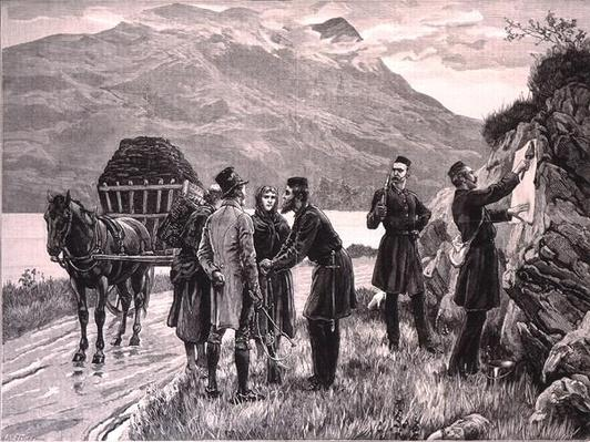 The State of Ireland: Posting the Government Proclamation at Connemara, from 'The Illustrated London News', 19th November 1881