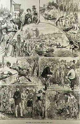 Sketches at the Henley Regatta, from 'The Illustrated London News', 7th February 1881