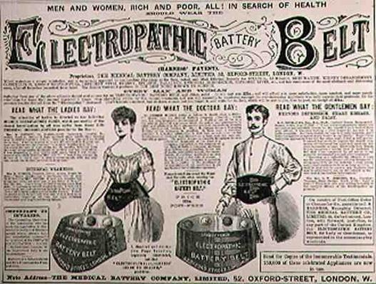 Advertisement for the Electropathic Battery Belt, from 'The Illustrated London News', 1st September 1886